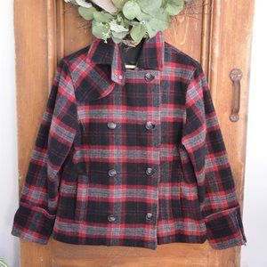 WOOLRICH Plaid Winter Double Breasted Pea Coat S